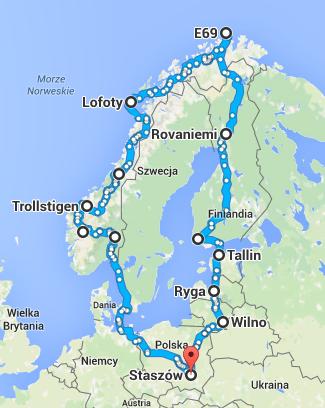 Wstępna trasa wyprawy na Koło Podbiegunowe.