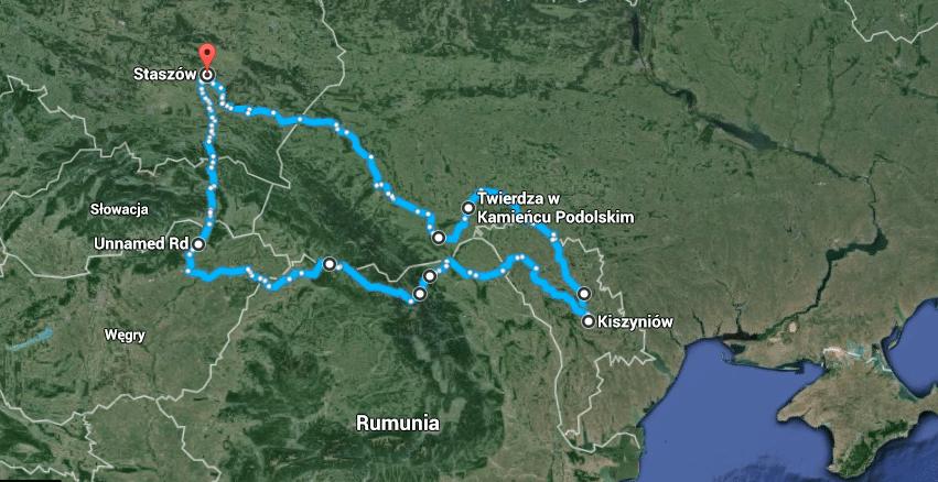 Mołdawia 2016 trasa