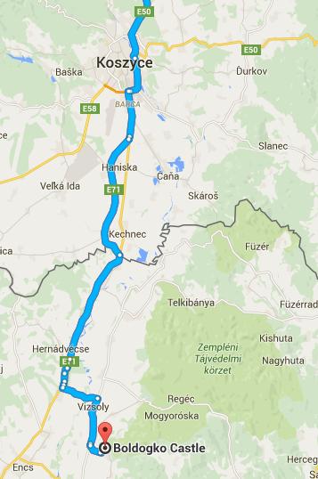 dojazd samochodem do Boldogkovar