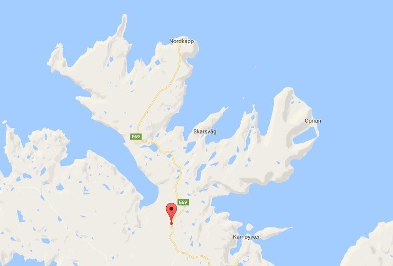 Parking i punkt widokowy na którym spaliśmy po odwiedzeniu Przylądka Północnego zaznaczony na mapie.