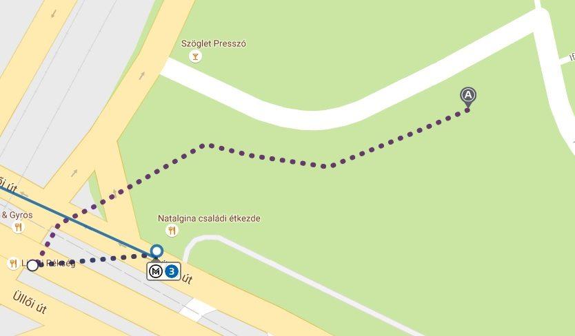 Mapka przedstawiająca jak dojść do stacji metra z miejsca gdzie zatrzymuje się autobus LuxExpress do Budapesztu.