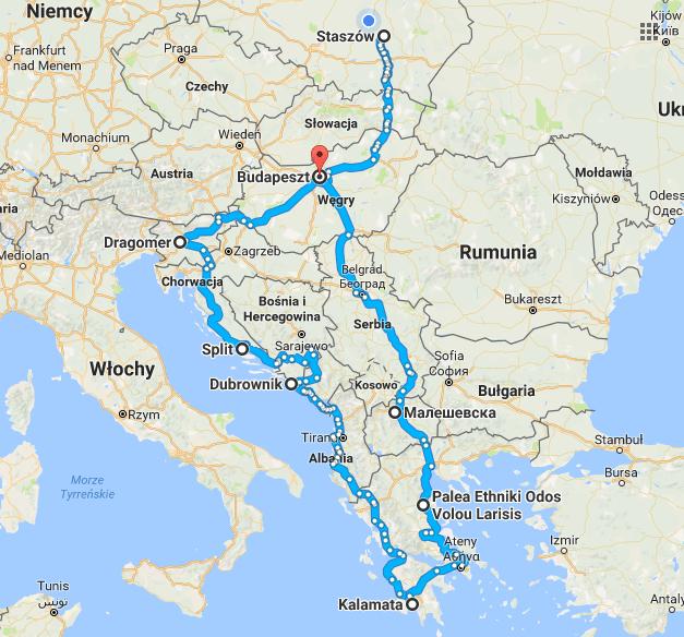 Wstępna trasa wyprawy na Bałkany.