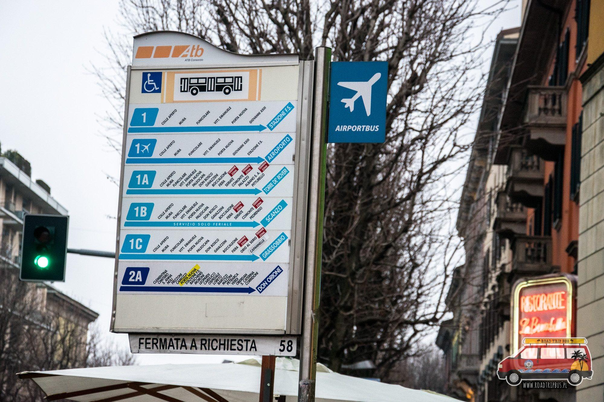 przystanek autobusowy w Bergamo