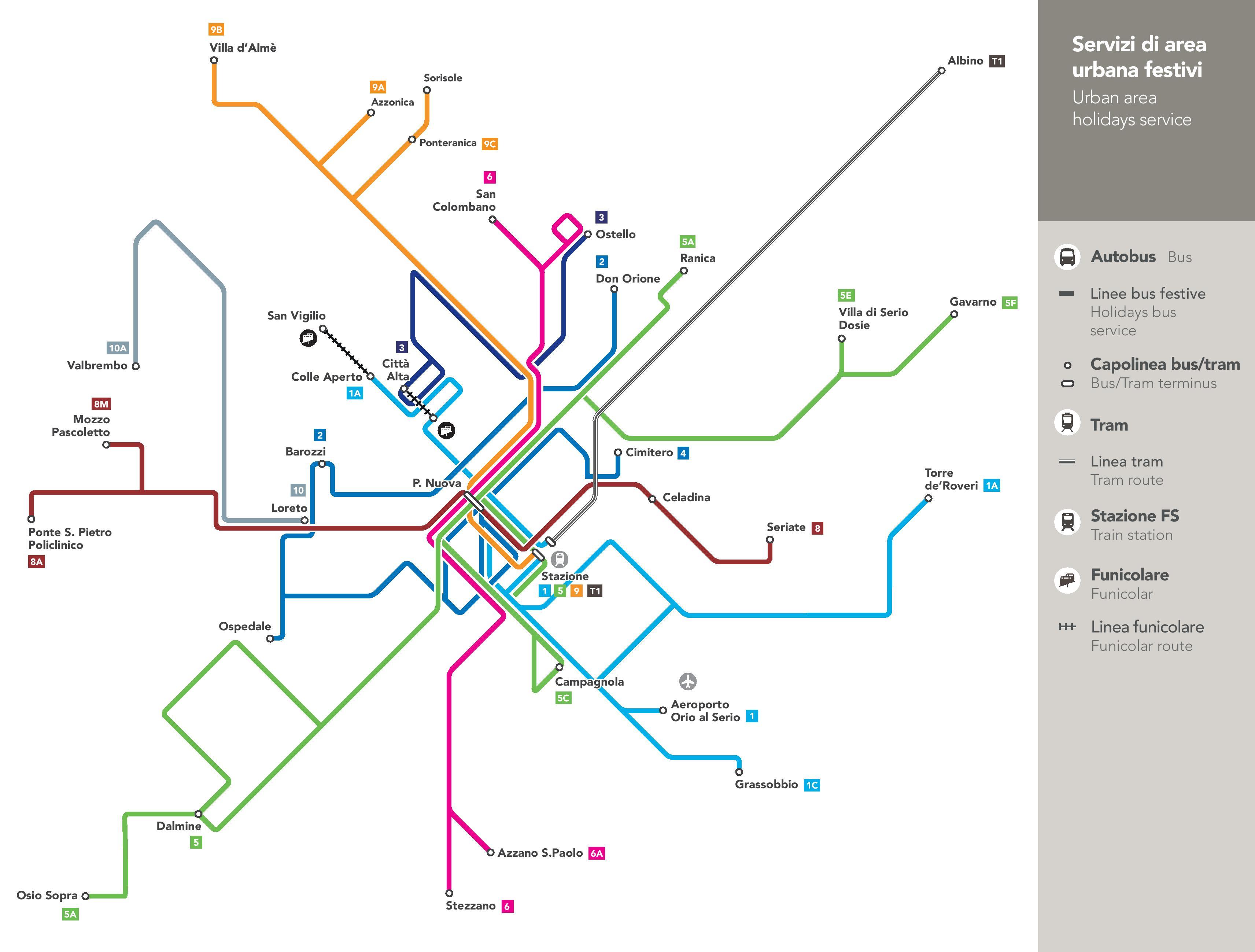 mapa komunikacji miejskiej w bergamo