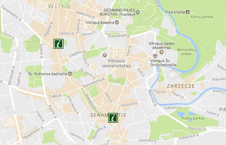punkty informacji turystycznej Wilno