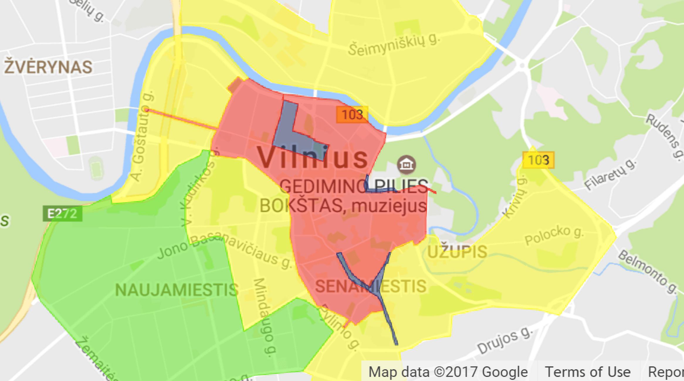 strefy płatnego parkowania w Wilnie