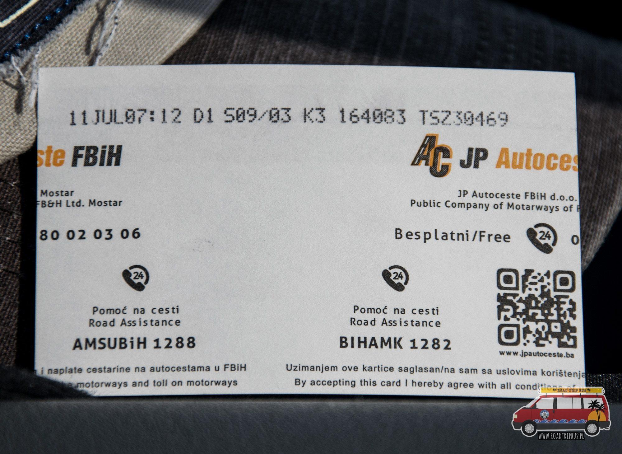 bilet autostrada Bośnia i Hercegowina