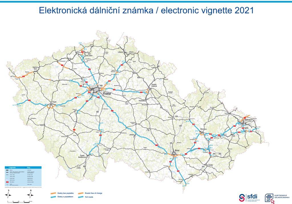 mapa płatnych dróg w Czechach