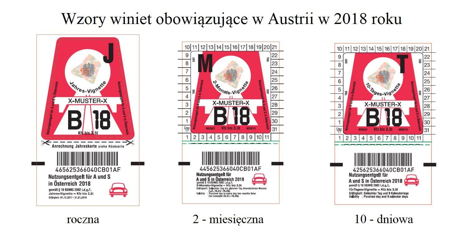 wzory winiet w Austrii w 2018