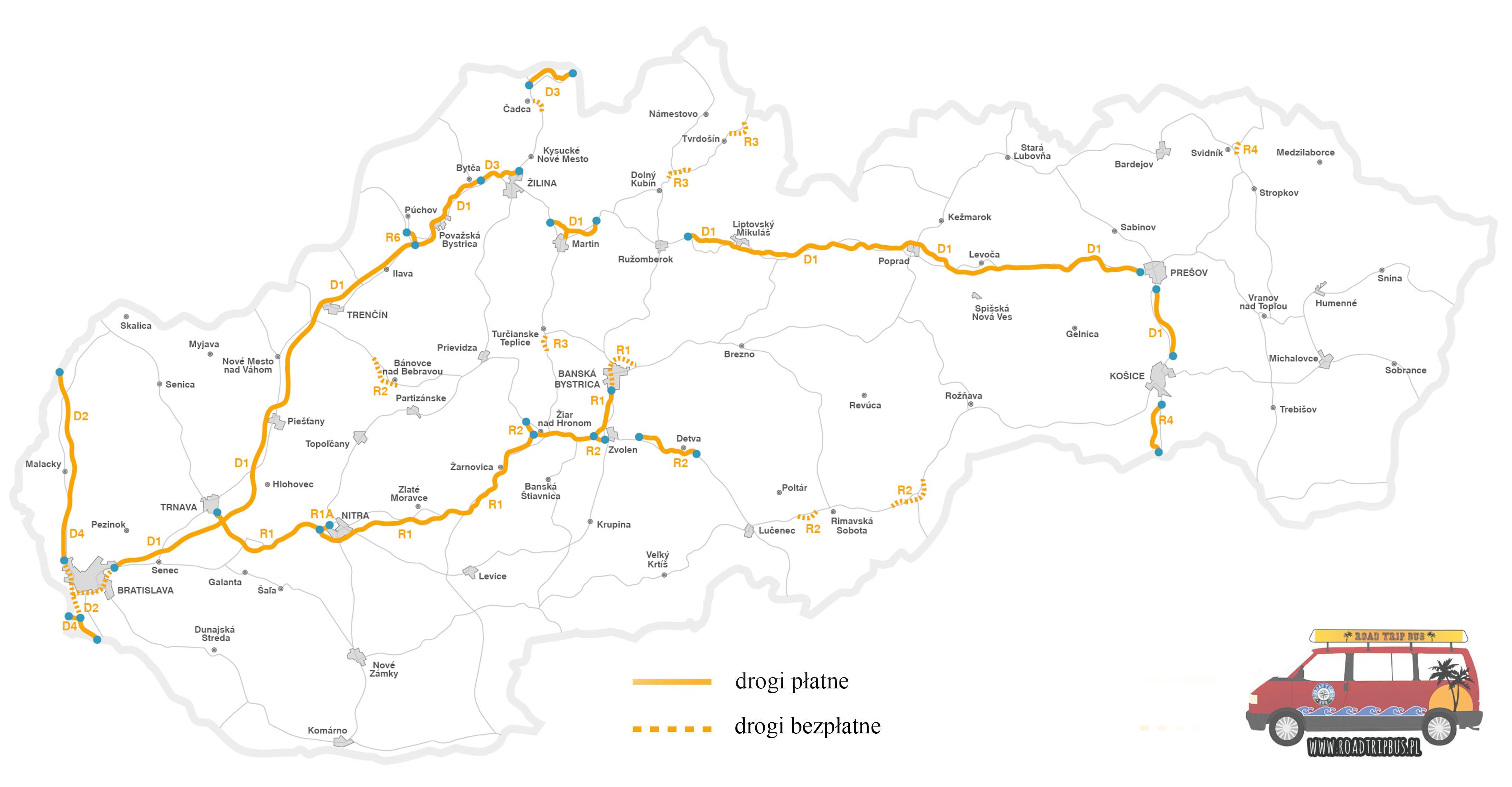Słowacja mapa płatnych dróg
