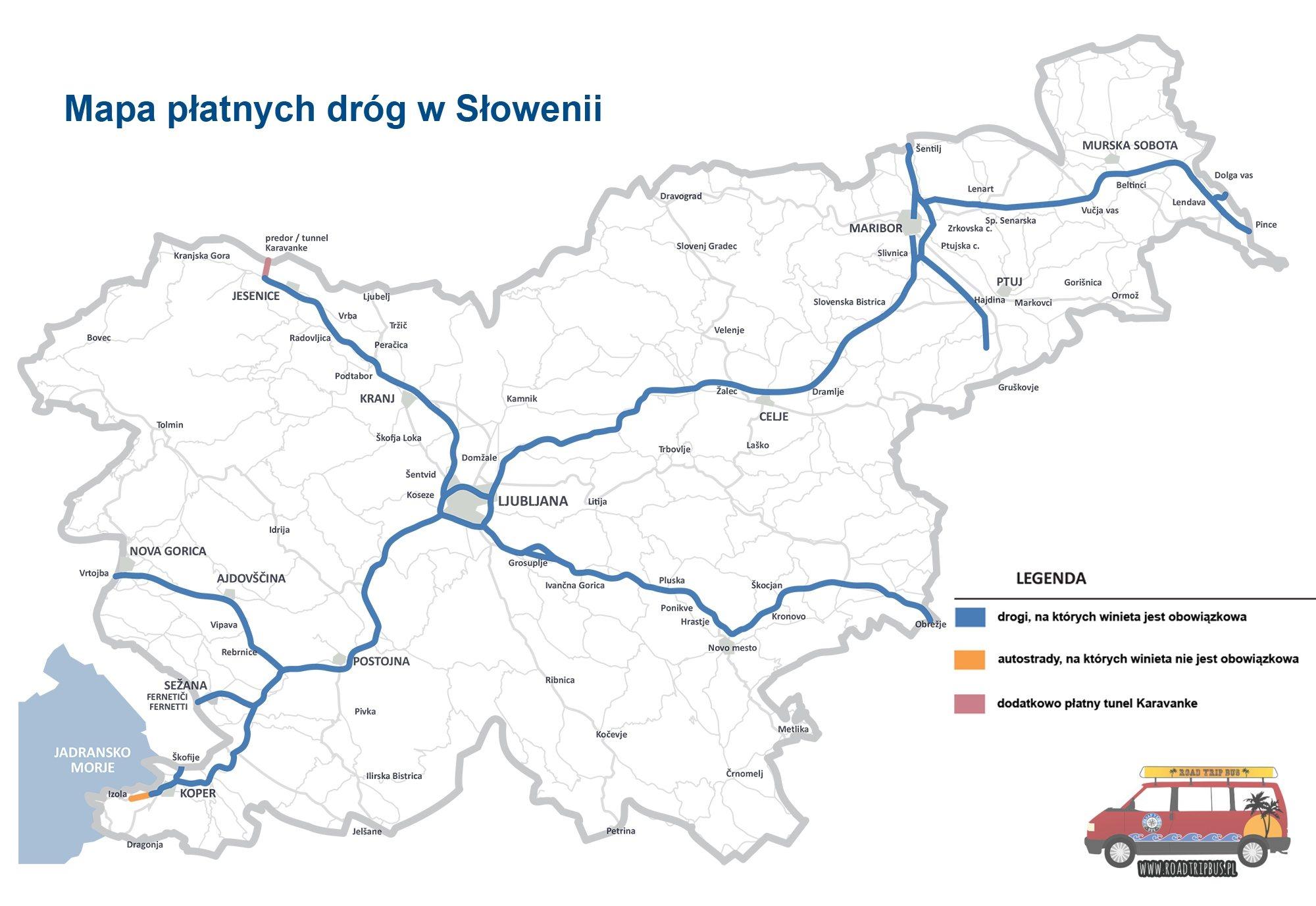 mapa płatnych dróg słowenia