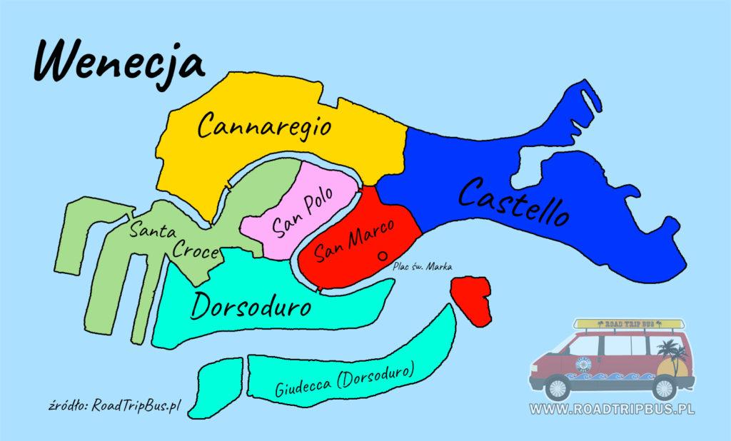 mapa dzielnic Wenecji