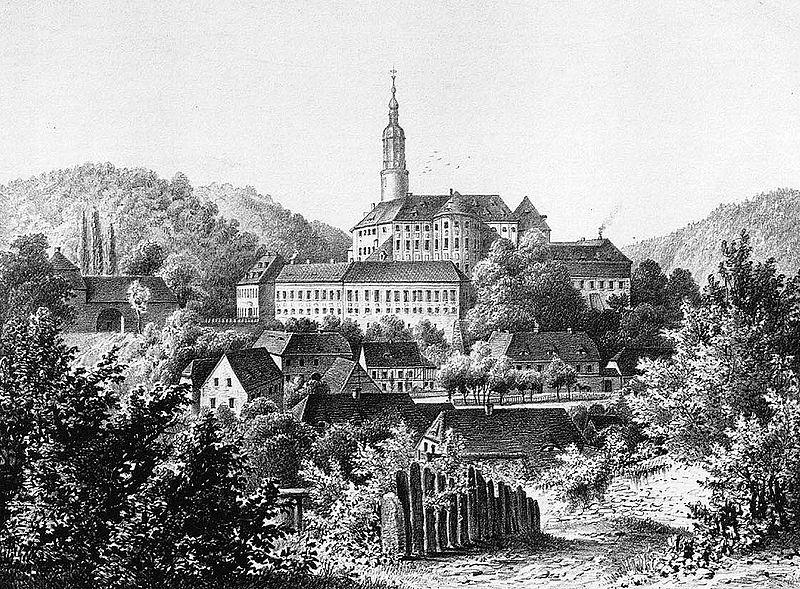 Pałac Weesenstein około roku 1860