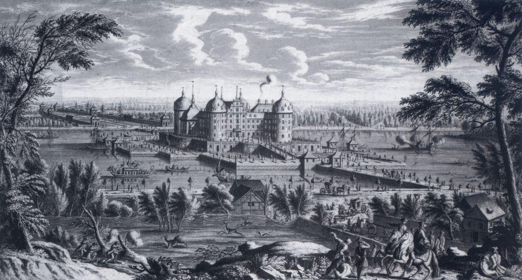 Pałac Moritzburg w 1773 rysunek