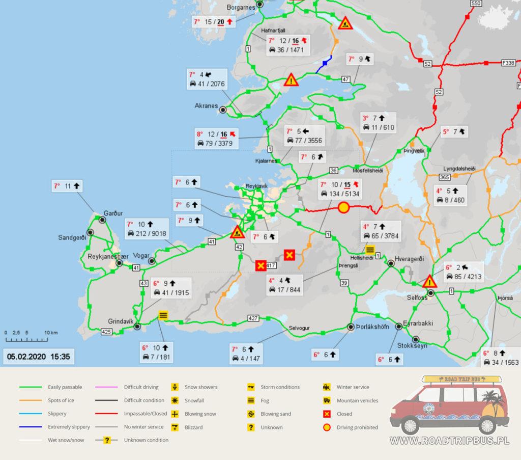 przejezdność dróg na Islandii