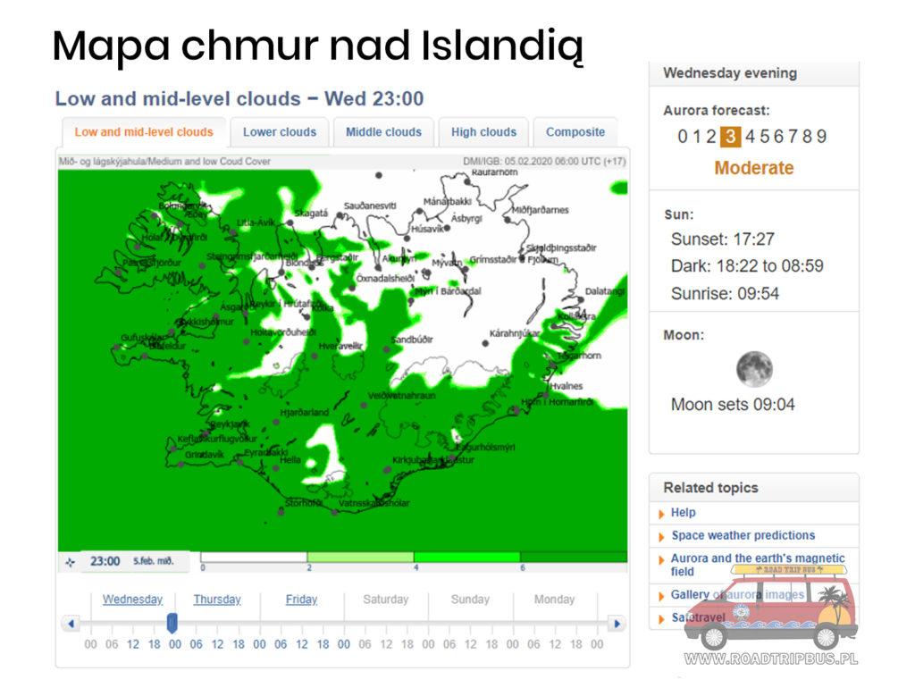 mapa zachmurzenia nad Islandią