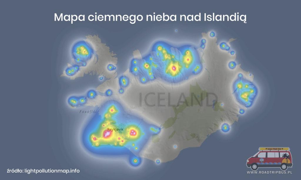 mapa ciemnego nieba nad Islandią