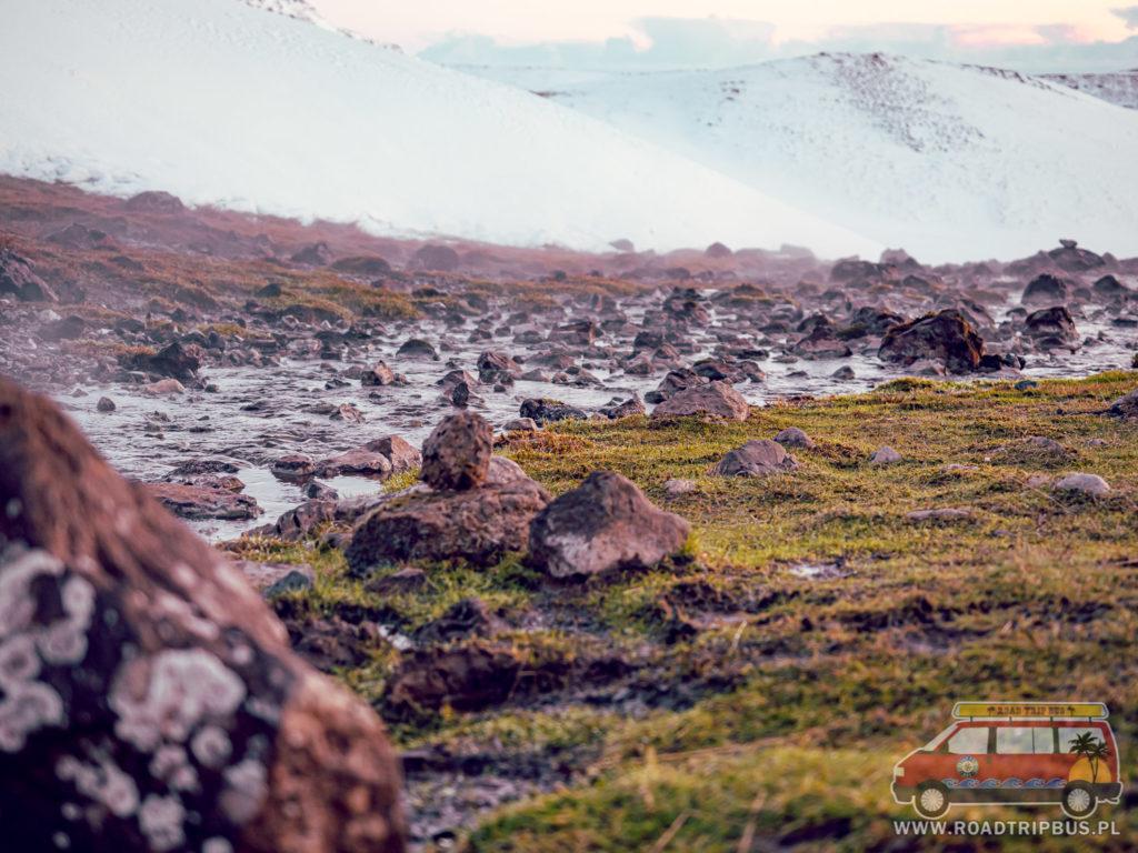 gorące źródło wypływające ze skały i znajdujący się obok niego mech