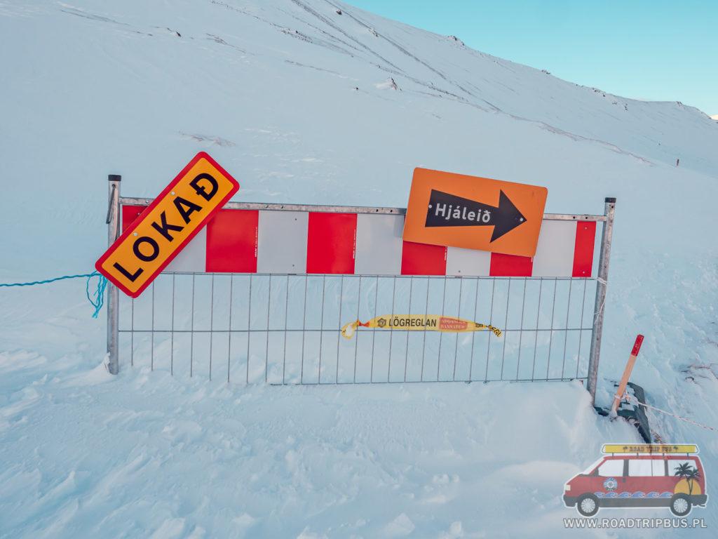 szlak zamknięty z powodu śnieg