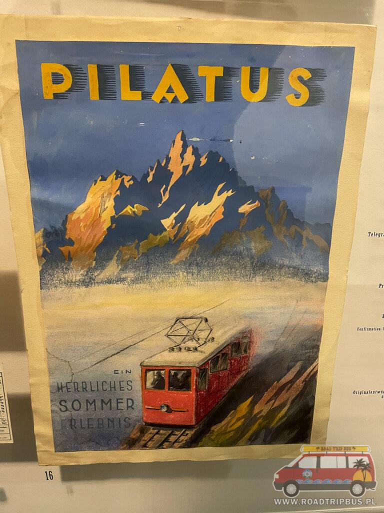historyczny plakat kolejki na pilatusie