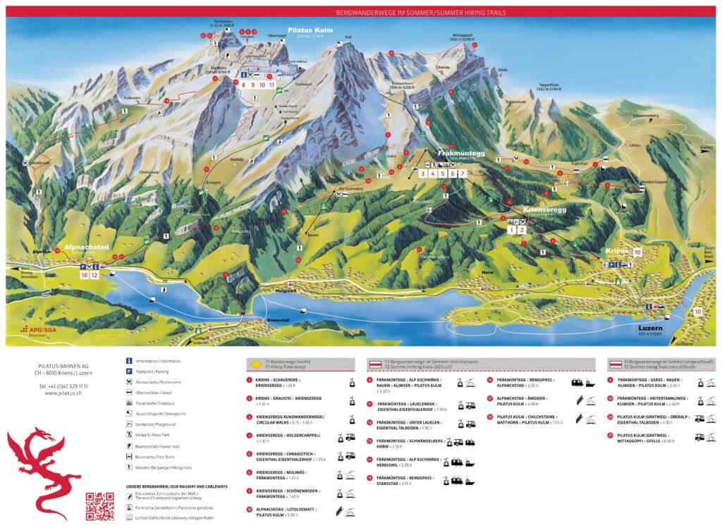 trasy wejścia na pilatus na mapie